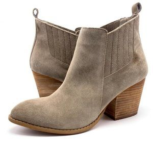 Leather Suede Crown Vintage Booties